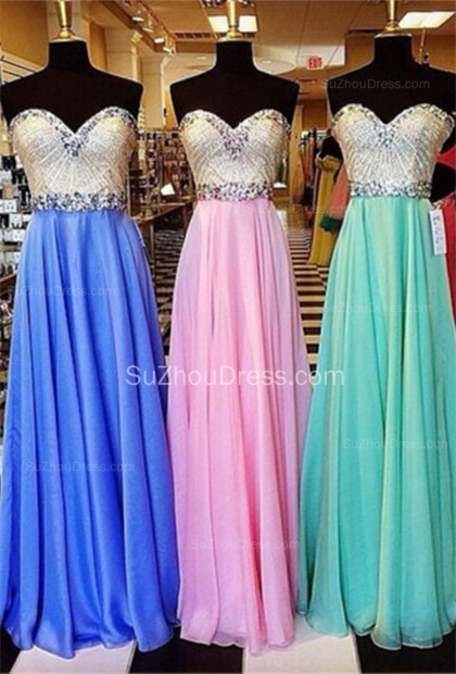 Sweetheart Sequines A-Line Beautiful Evening Dresses  Crystal Floor Length Prom Gowns