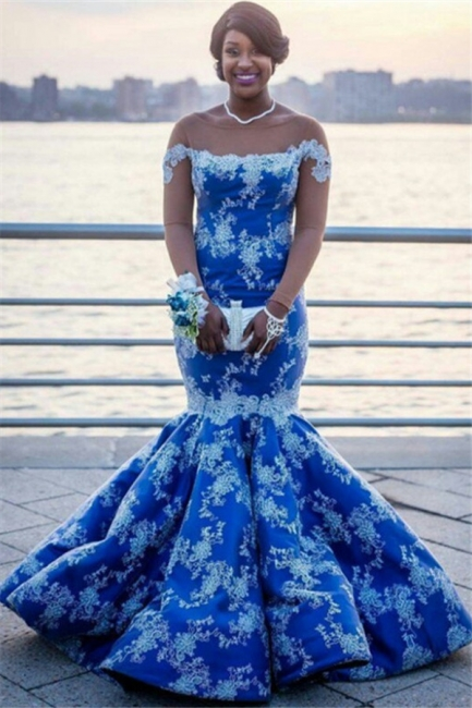 Ocean Blue White Lace Mermaid Prom Dresses | Bateau See Through Tulle Long Sleeve Evening Gown