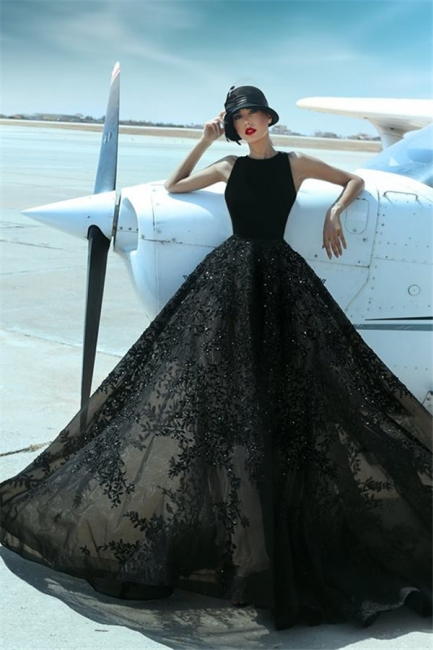 Beaded Lace Appliques Black Formal Evening Dresses Sleeveless  Prom Dress