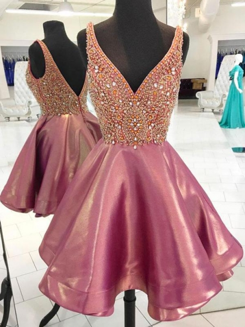 V-Neck A-line Crystal Hoco Dresses | Sleeveless Open Back Short Homecoming Dress