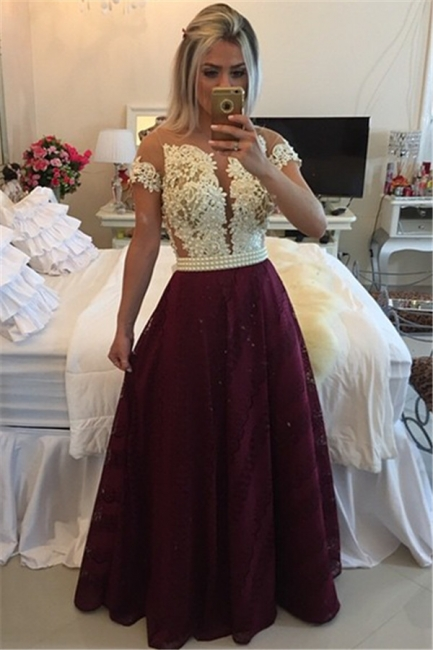 Burgundy Prom Dresses Short Sleeve Lace Evening Gowns with Pearls BMT009a