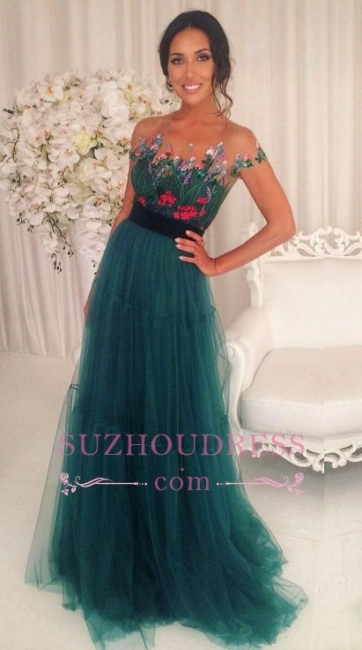 Short Sleeves Green Tulle Evening Dress Floral Appliques A-Line Prom Dresses