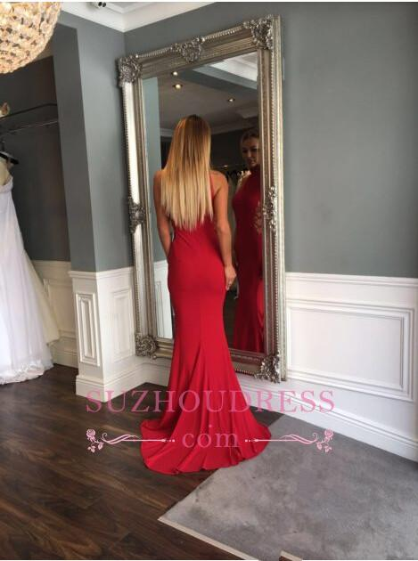Red Sleeveless Sweep Train Evening Gown Modern High Neck Mermaid Prom Dress