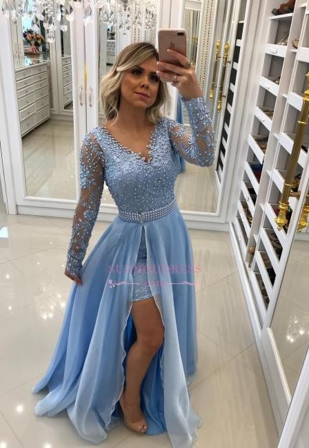 Blue Long-Sleeve Lace Evening Dresses  | Fashion Beaded A-Line Prom Dresses WW0125
