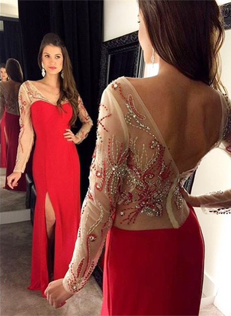 Vintage Red Long Sleeve Evening Gown Sheath Beading Side Slit Party Dress