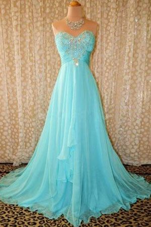 Sweetheart Blue Crystal Long Prom Gowns with Beadings Ruffles Sweep Train Formal Party Dress