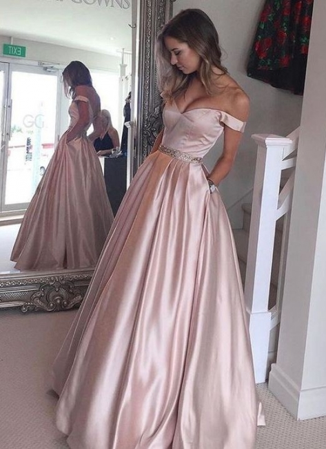 Beading Off-the-Shoulder Evening Gowns with Pockets Puffy Pearl Pink Prom Dresses  BA5008