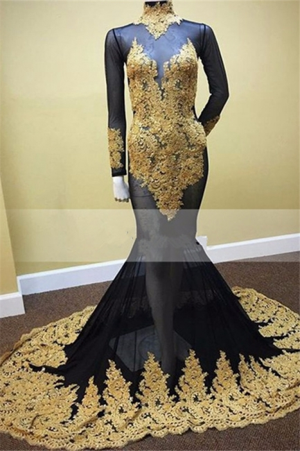 Black Mermaid Long Sleeves Prom Dresses  Gold Applique High Neck Illusion Evening Gowns MQ0045