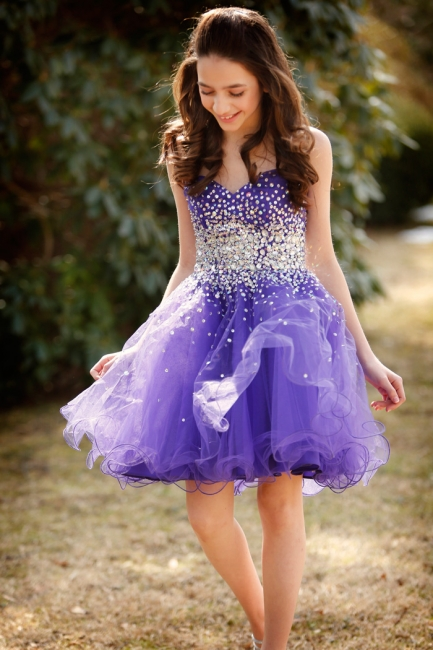Cute Lavender Homecoming Dress  Puffy Organza Beads  School Party Dress