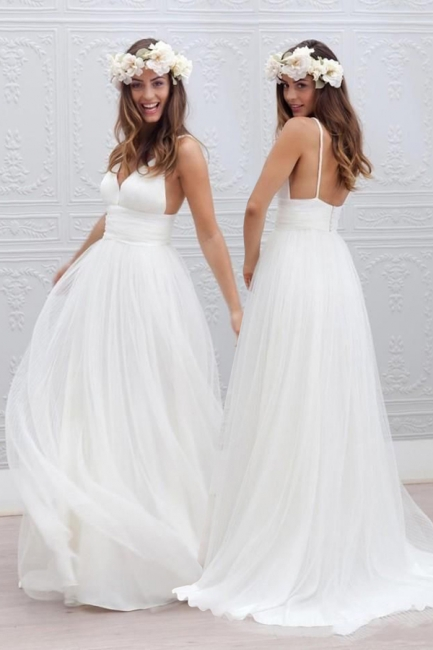 Elegant Simple V-neck Spaghetti Straps Wedding Dress Open Back Summer Formal Dresses BA3218