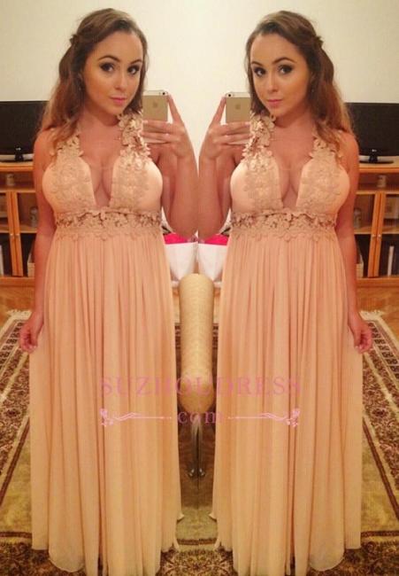Chiffon Halter Empire Long Lace V-Neck A-Line Prom Dresses