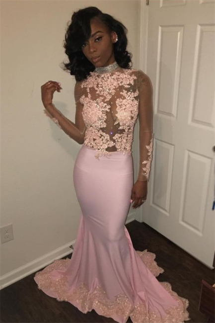 Sexy Mermaid Pink High Neck Prom Dresses  Long Sleeves Appliques Evening Gowns with Beadings SK0111