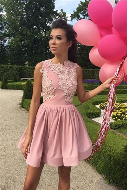 New Arrival Pink A-line Sleeveless Homecoming Dresses Appliques Short Cocktail Dresses