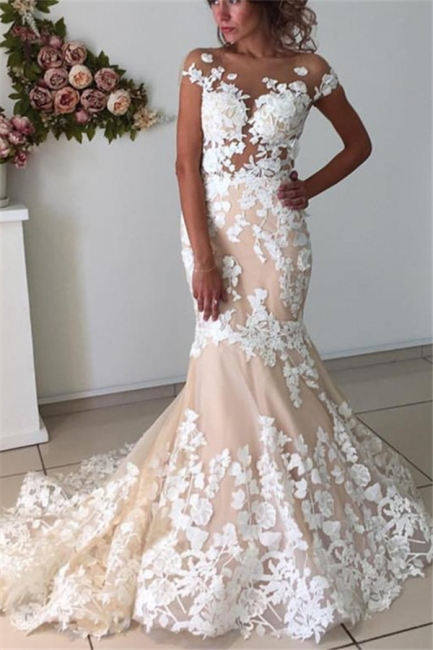 Champagne Pink Lace Appliques Wedding Dresses  | Short Sleeves Mermaid Backless Bridal Dress
