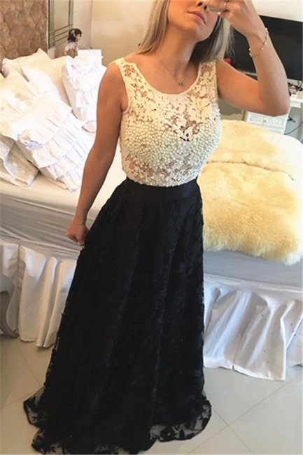 Black and White Lace Prom Dress Pearls Sleeveless Stitching Color Evening Gown