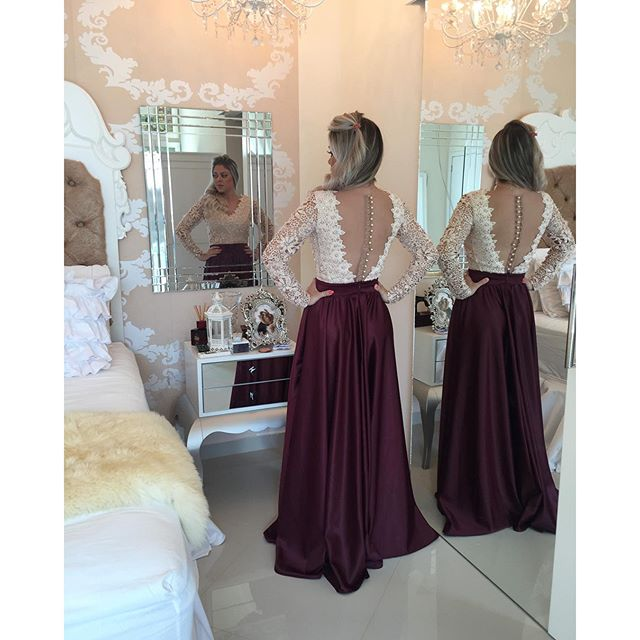 New Arrival Long Sleeve Beading Evening Gown V-Neck Lace A-Line Prom Dress