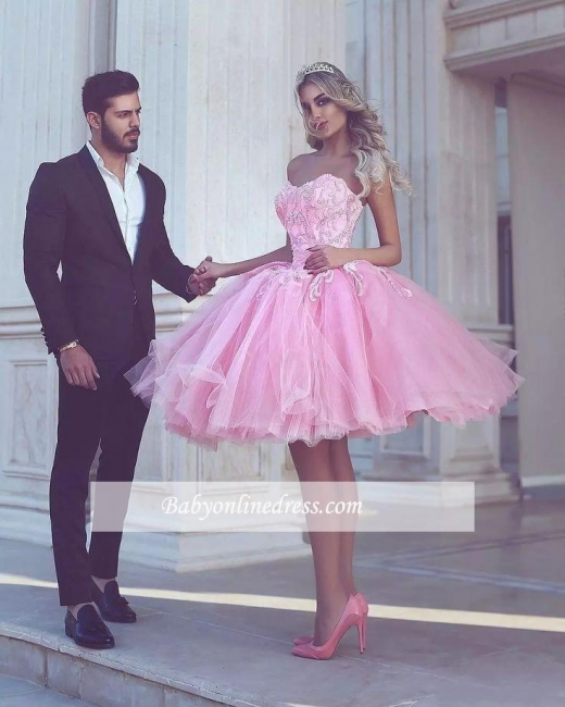 Appliues Pink Sweetheart-Neck Short Ball-Gown Homecoming Dresses BA6587