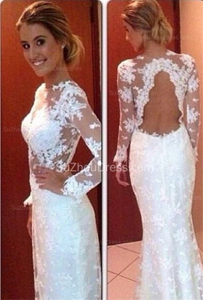 Long Sleeve Sheath Lace Wedding Dresses  Floor Length Simple Bridal Gowns