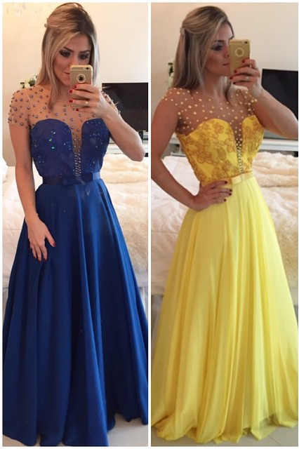 Royal Blue Sheer Tulle Plus Size Prom Dresses with Beads Latest Yellow Long Evening Party Dress BMT018