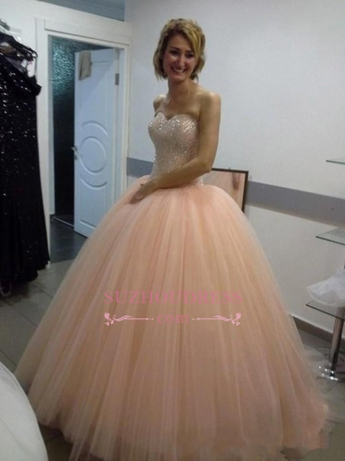 Beautiful Tulle Ball-Gown Sequins Sweetheart Evening Dress