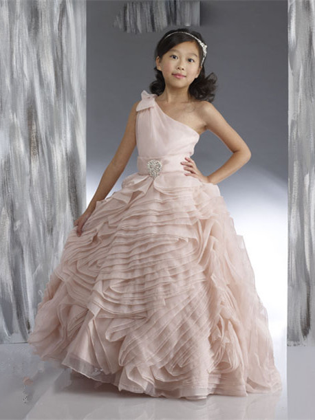 Organza Flower Girl Dresses One Shoulder Bow Beading Lovely Tiered Ball Gown Pink Pageant Dress