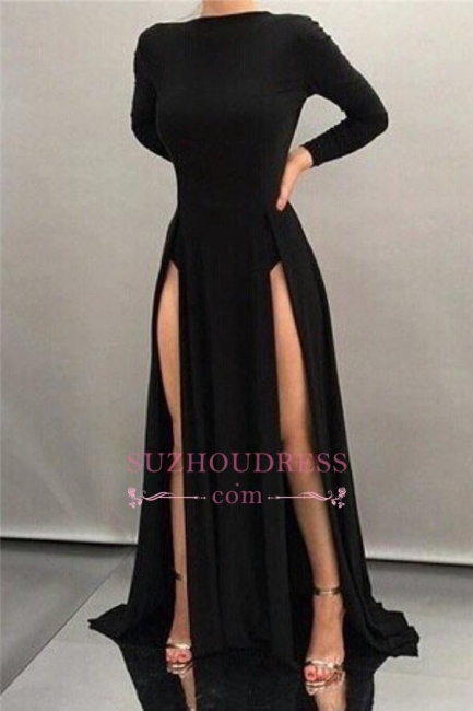Black Long Sheath High Neck Formal Dress Long Sleeve Sexy Front Splits Evening Gowns  BA4519