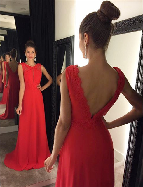 New Arrival Red Chiffon Long Prom Dress A-Line Open Back Sweep Train Evening Gown