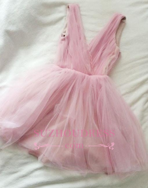Simple Short Cute V-neck Pink Tulle Homecoming Dress