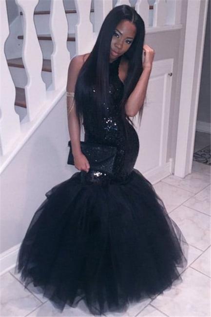 Black Sequins Mermaid Halter Evening Dresses  Sleeveless Tulle Prom Dress CE0032