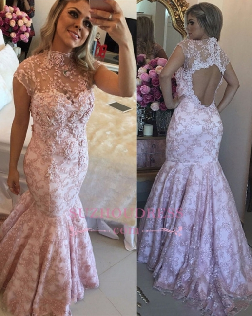 Pink Lace High-Neck Evening Dresses  | Cap-Sleeves Beaded Open-Back Prom Dresses