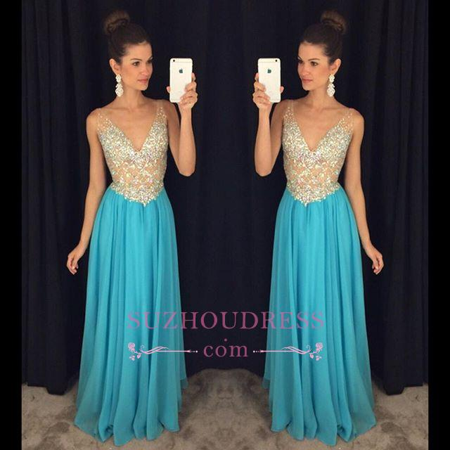 Popular Crystal Ruffles Sexy V-Neck Sleevelesss Prom Dresses  GA075
