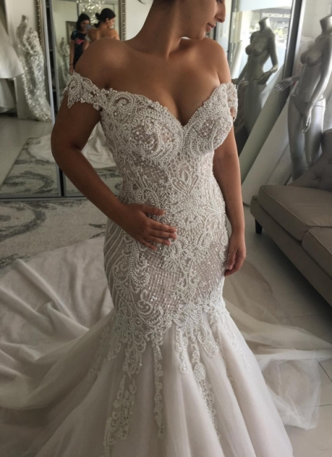 Alluring Off-the-Shoulder Backless Wedding Dresses Beaded Mermaid Bridal Gowns Online