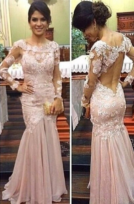 Sexy Mermaid Long Sleeve Formal Occasion Dress Open Back Lace Evening Gowns