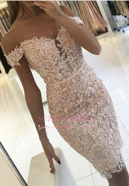 Sexy Off-the-Shoulder Short Formal Dress Lace Sheath Buttons Homecoming Dress BA6358
