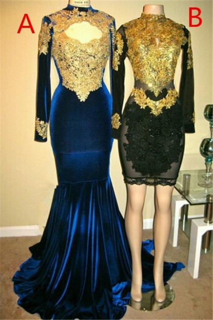 Long Sleeves Mermaid Velvet Long Prom Dresses | High Neck Appliques Sheath Short Party Dress