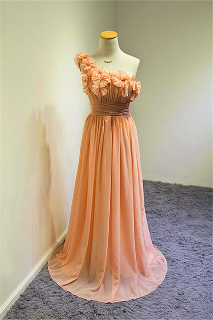 A-line One Shoulder Chiffon Applique Prom Dress Ruffled Sweep Train Lovely Evening Gowns with Flowers