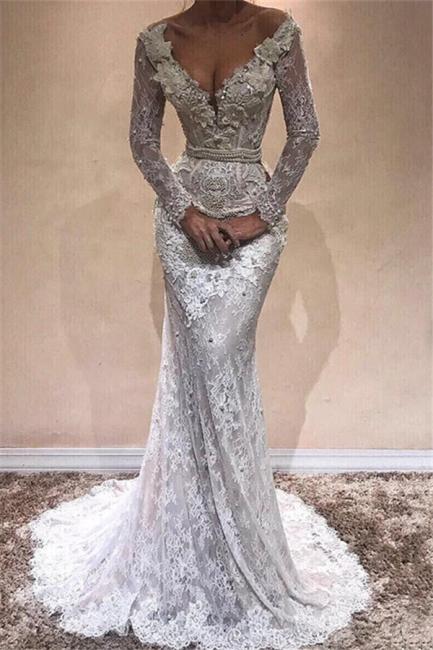 Glamorous Mermaid Long Sleeves Wedding Dresses    Lace V-Neck Crystal Evening Dress