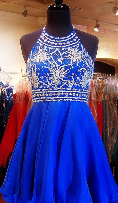 Crystal Halter Royal Blue Mini Homecoming Dress with Rhinestones  Open Back Short Cocktail Dress