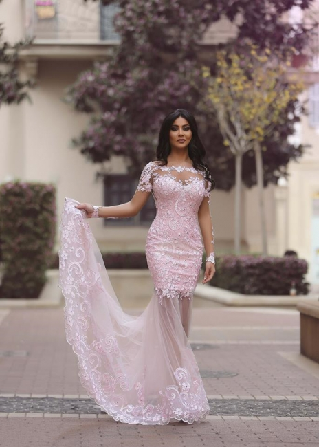 Blushing Pink Prom Dresses Long Sleeve Lace Sexy Evening Dress  MH061