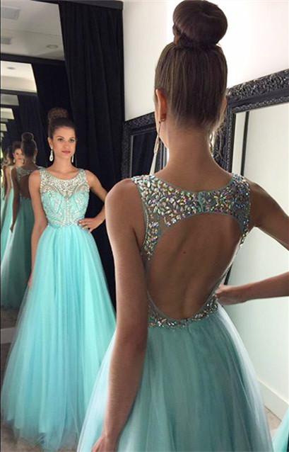 Light Blue Crystal Long Party Dress A-Line Halter Open Back Prom Dresses GA001a