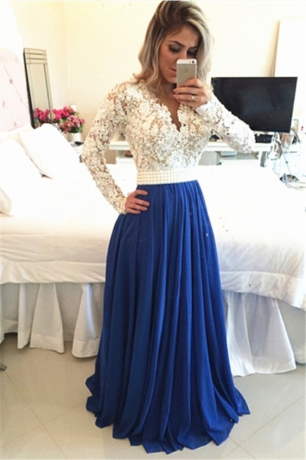 Royal Blue  Lace V Neck Popular Evening Dress with Long Sleeve Pearl Belt Long Prom Dresses BMT017