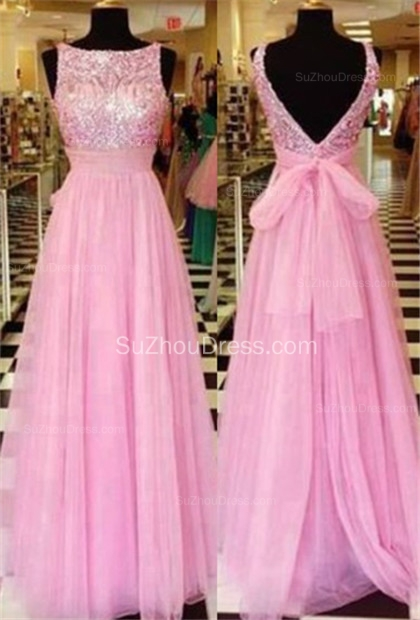 Pink Bateau Sequined Evening Dresses  Tulle A-Line Elegant Prom Gowns