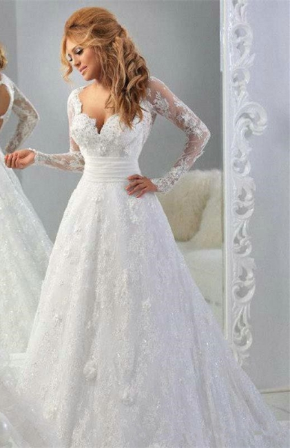 Latest Long Sleeve Empire Lace Bridal Dress A-Line Halter Empire Plus Size Wedding Gowns