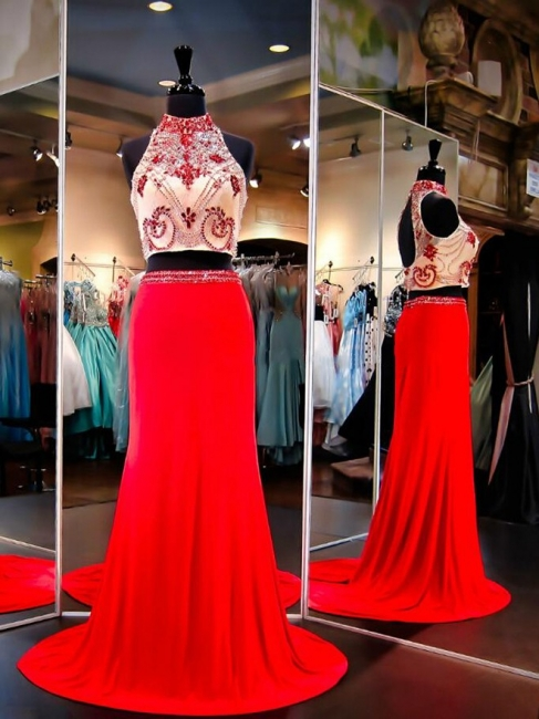 High Collar Two Piece Prom Dresses Beading Open Back Long  Evening Gowns