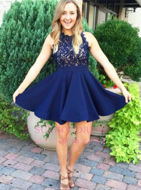 Lace Appliques A-line Sleeveless Modern Navy Blue Homecoming Dress