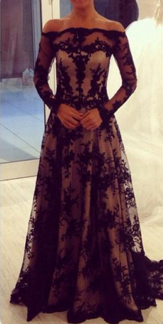 Off The Shoulder Black Lace Evening Dresses Long Sleeve  Formal Dress