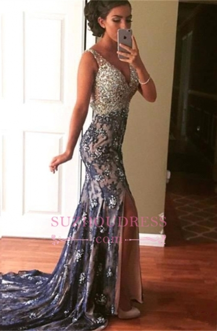 Modest Mermaid Prom Dresses  Front-Split Straps Sleeveless Crystals Evening Gown