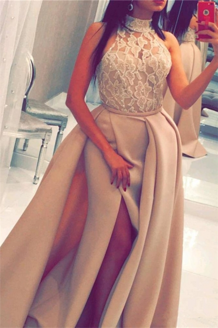High Neck Floral Lace Evening Gown Sleeveless Overskirt Front Slit  Prom Dress BA6712