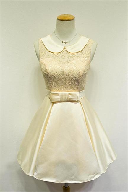 Elegant Lace Taffeta Short Bridesmaid Dresses Cute Zipper Mini Cocktail Dress with Sash