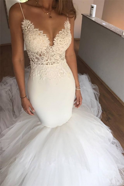 Mermaid Lace Wedding Dresses  | V-neck Straps Open Back Sexy Bridal Dresses with Tulle Train